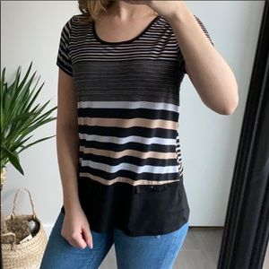 Black and Tan Striped Button Blouse